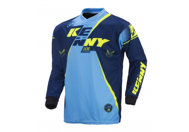 Maillot Kenny Track marine / cyan / jaune fluo