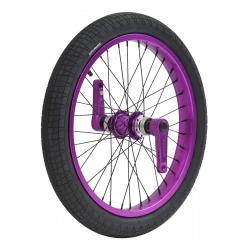 Roue avant Dynasty anodisée violette, freinage disque, cerclage large