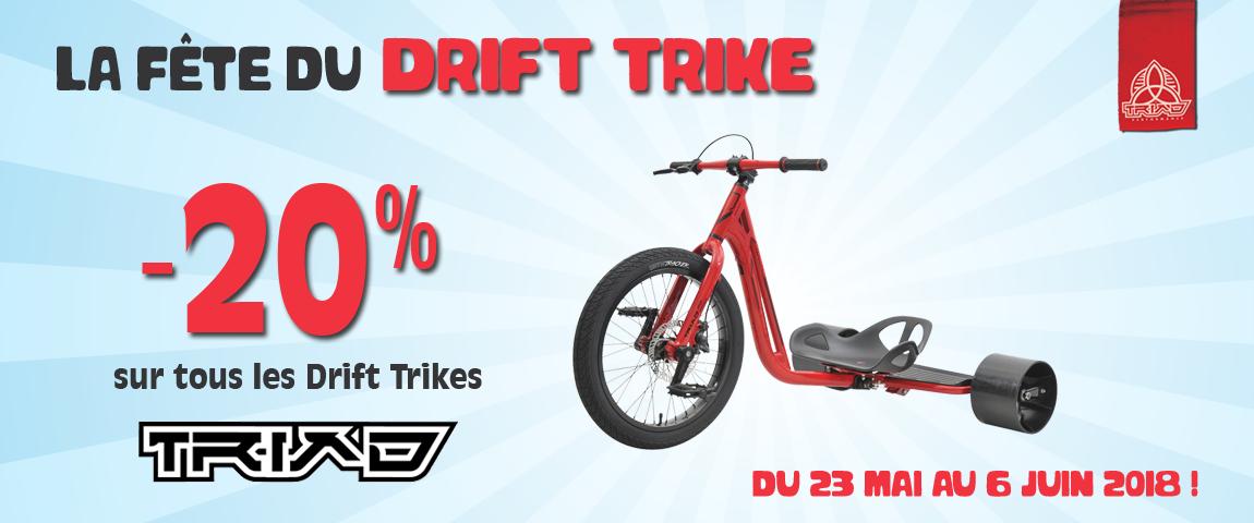 Fête du Drift Trike -20% sur tous les trikes TRIAD jusqu'au 6 juin 2018 - seulement sur Modernride.fr